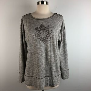 Good Karma 3/4 Sleeve Gray Mandala Graphic Shirt